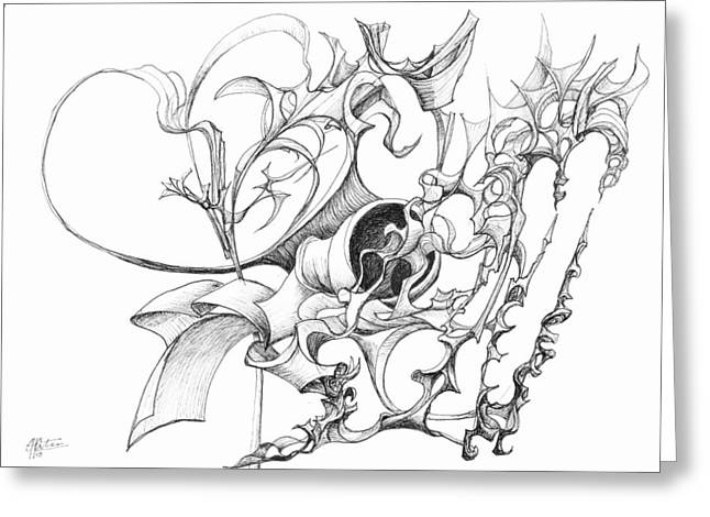 Organic Drawings Greeting Cards - 0910-13 Greeting Card by Charles Cater