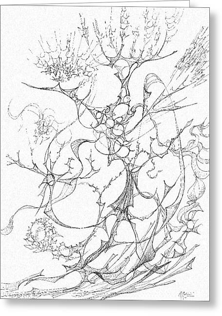 Organic Drawings Greeting Cards - 0910-14 Greeting Card by Charles Cater