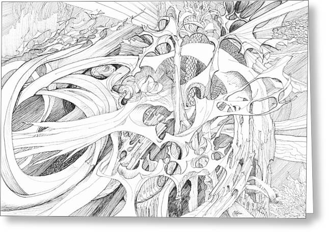 Organic Drawings Greeting Cards - 0910-2 Greeting Card by Charles Cater