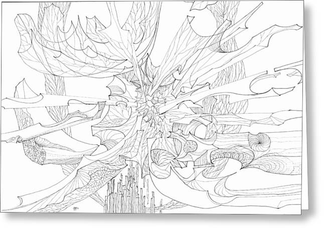 Organic Drawings Greeting Cards - 0910-3 Greeting Card by Charles Cater