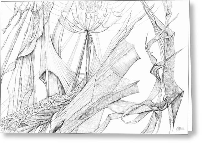 Organic Drawings Greeting Cards - 0910-7 Greeting Card by Charles Cater