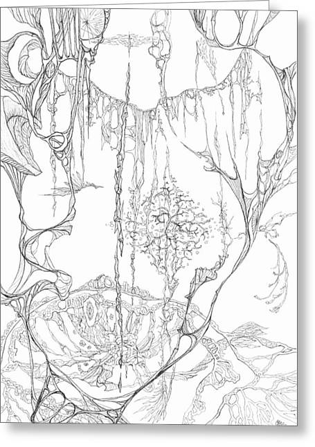 Organic Drawings Greeting Cards - 0910-9 Greeting Card by Charles Cater