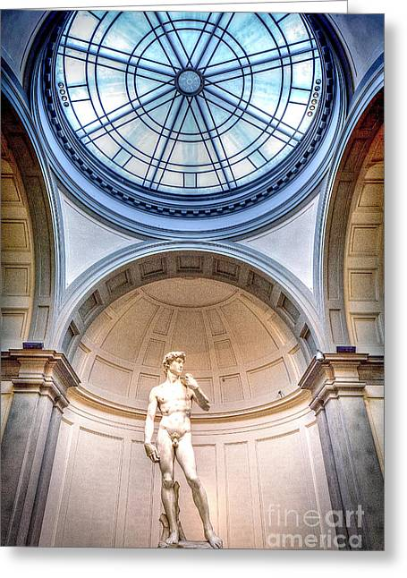 Michelangelo Greeting Cards - 0977 Statue of David Greeting Card by Steve Sturgill