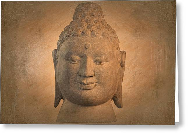 Print Sculptures Greeting Cards -  antique oil effect Buddha Borobudur Greeting Card by Terrell Kaucher