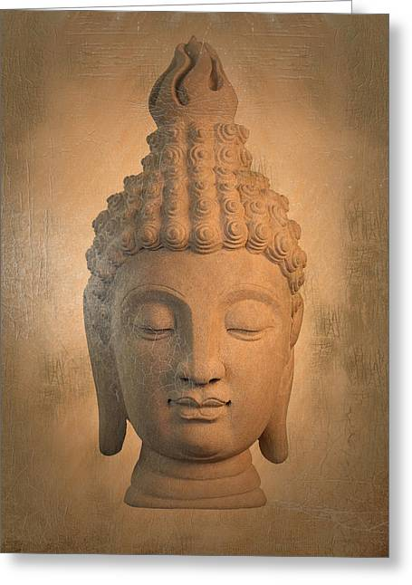 Tranquil Sculptures Greeting Cards -  antique oil effect Buddha Sukhothai ,, Greeting Card by Terrell Kaucher