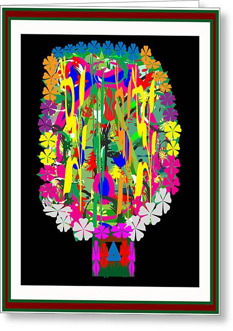Evaluation Mixed Media Greeting Cards -  Flower bouquet  Colorful Abstract art for Interior Decoration  by NavinJoshi Greeting Card by Navin Joshi