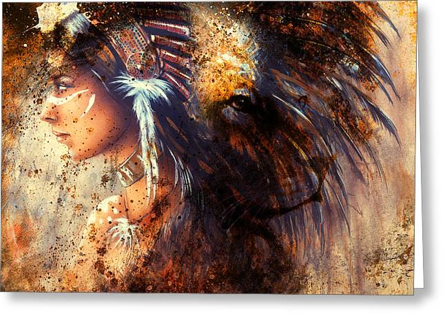 Indian Woman Wearing  Feather Headdress With Lion And Abstract Color Collage. Greeting Card by Jozef Klopacka