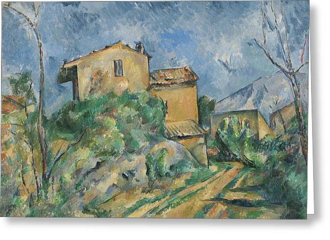 Mountain Road Greeting Cards -  Maison Maria with a View of Chateau Noir  Greeting Card by Paul Cezanne