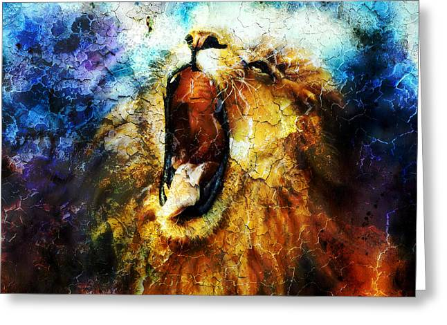 Royal Art Greeting Cards -  Painting Of A Mighty Roaring Lion Emerging From An Abstract Desert Pattern Pc Collage Greeting Card by Jozef Klopacka