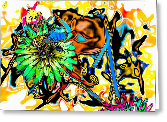 Abstract Digital Photographs Greeting Cards -  Psychedelic Bee Collecting Pollen on a Dandelion  Greeting Card by Julie Wooden