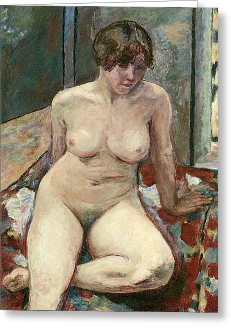 Bedspread Greeting Cards - Nude Seated Leg Bent Greeting Card by Pierre Bonnard