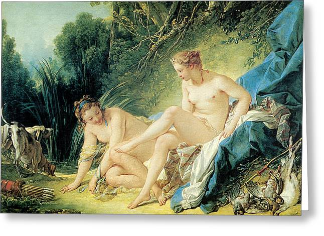Boucher Paintings Greeting Cards - Diana Bathing Greeting Card by Francois Boucher