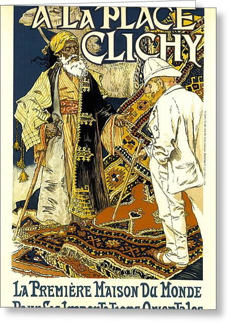 Persian Rug Greeting Cards - A La Place Clichy Greeting Card by Eugene Grasset