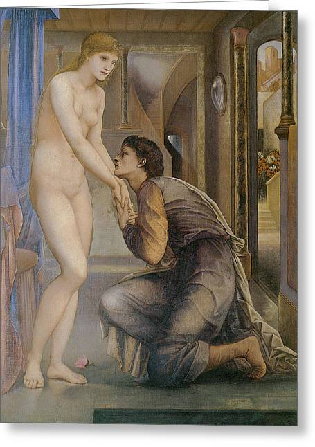 Nude Greeting Cards - The Soul of Attains Greeting Card by Edward Burne Jones
