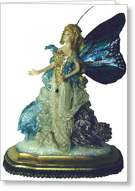 Fairies Ceramics Greeting Cards - 01MD076-Madame Butterfly Greeting Card by Shirley Heyn