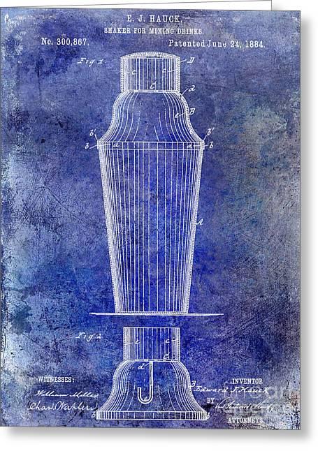 Martini Glass Greeting Cards - 1884 Drink Shaker Patent Greeting Card by Jon Neidert