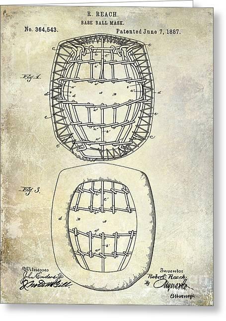 1887 Baseball Mask Patent Greeting Card by Jon Neidert