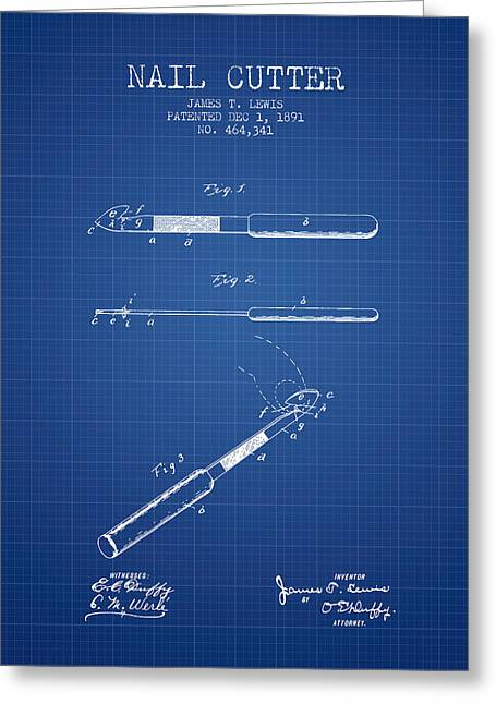 Cutter Greeting Cards - 1891 Nail Cutter Patent - Blueprint Greeting Card by Aged Pixel