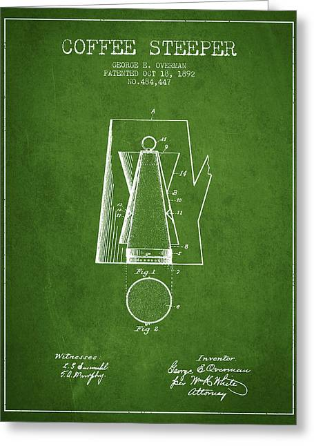 Technical Drawings Greeting Cards - 1892 Coffee Steeper patent - Vintage Greeting Card by Aged Pixel