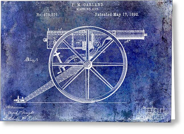 Machine Photographs Greeting Cards - 1892 Machine Gun Patent Blue Greeting Card by Jon Neidert