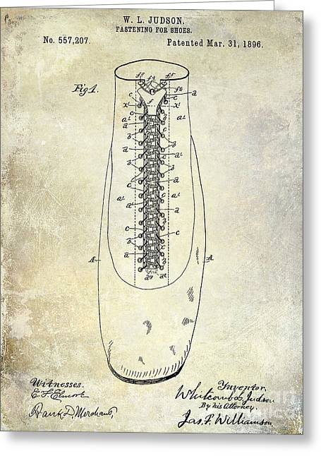 Men Shoes Greeting Cards - 1896 Shoe Patent  Greeting Card by Jon Neidert