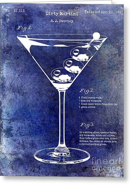 Martini Greeting Cards - 1897 Dirty Martini Patent Greeting Card by Jon Neidert