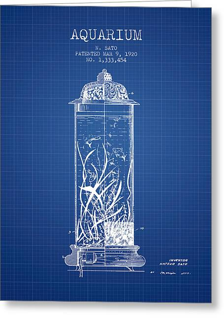 Aquarium Fish Greeting Cards - 1902 Aquarium Patent - Blueprint Greeting Card by Aged Pixel