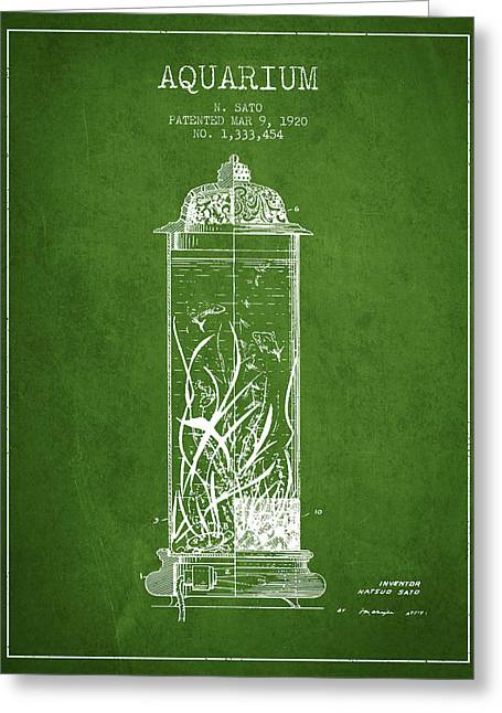 1902 Aquarium Patent - Green Greeting Card by Aged Pixel