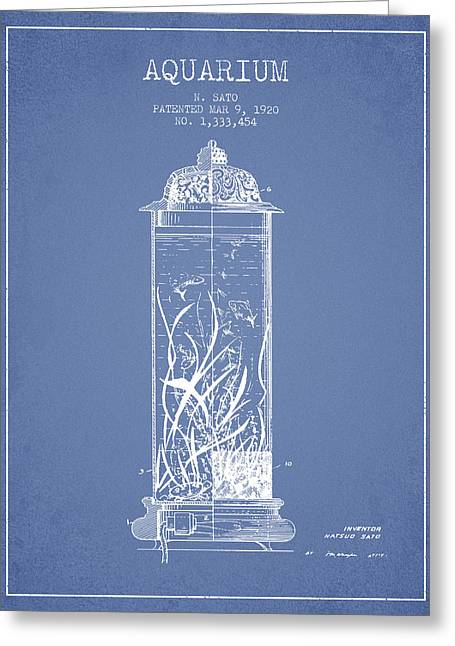 1902 Aquarium Patent - Light Blue Greeting Card by Aged Pixel