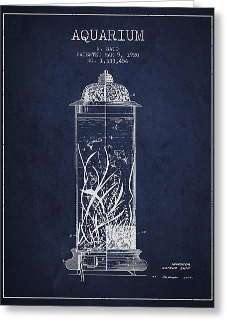 1902 Aquarium Patent - Navy Blue Greeting Card by Aged Pixel
