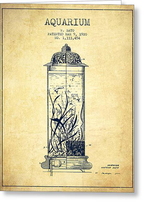 Aquarium Fish Greeting Cards - 1902 Aquarium Patent - Vintage Greeting Card by Aged Pixel