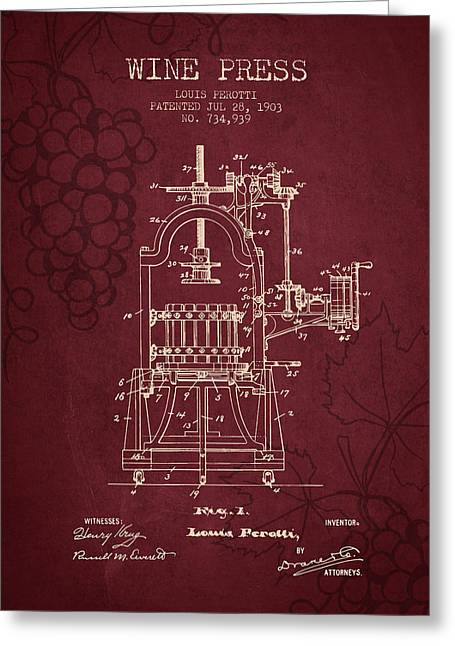 Wine Illustrations Drawings Greeting Cards - 1903 Wine Press Patent - Red Wine Greeting Card by Aged Pixel