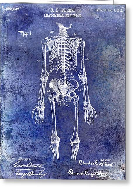 Medical Greeting Cards - 1911 Anatomical Skeleton Patent Blue Greeting Card by Jon Neidert