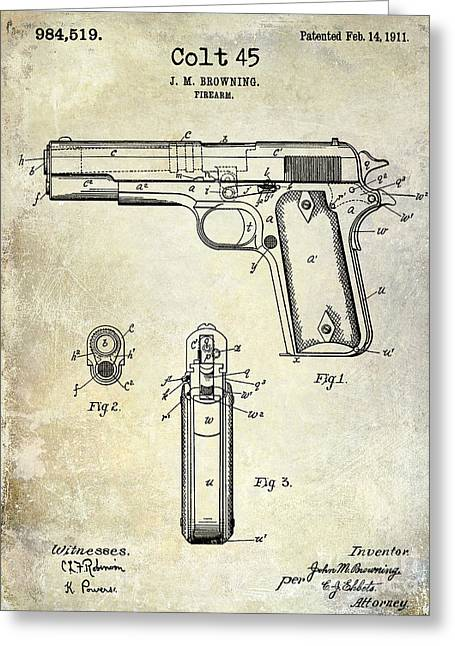 Pistol Greeting Cards - 1911 Colt 45 Firearm Patent Greeting Card by Jon Neidert