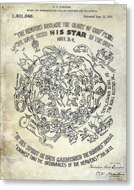 Astronomers Greeting Cards - 1919 Astrology Patent Greeting Card by Jon Neidert