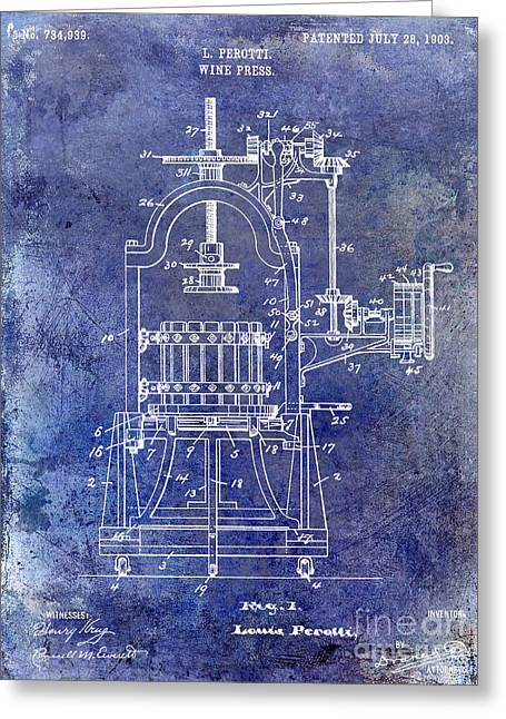 Red Wine Greeting Cards - 1922 Wine Press Patent Blue Greeting Card by Jon Neidert