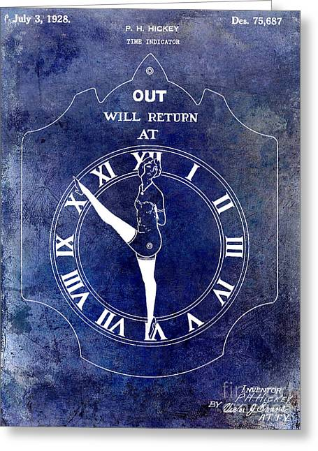 Dancing Girl Greeting Cards - 1928 Time Indicator Patent Blue Greeting Card by Jon Neidert