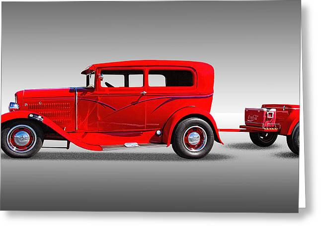Police Cruiser Greeting Cards - 1930 Ford Sedan With Trailer Greeting Card by Nick Gray