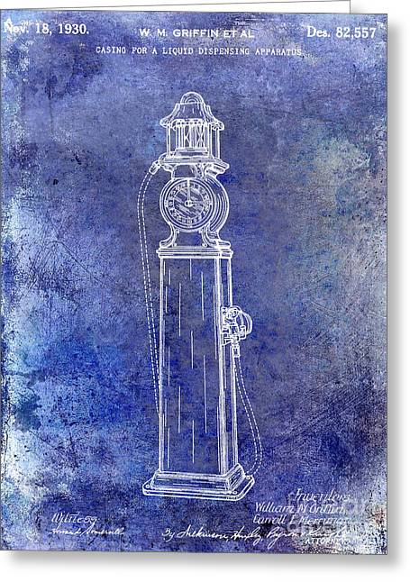 Gas Pumps Greeting Cards - 1930 Gas Pump Patent Blue Greeting Card by Jon Neidert