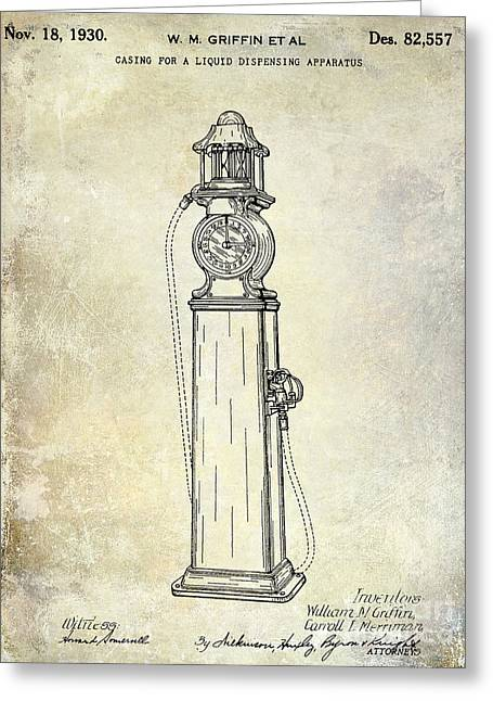 Gas Pumps Greeting Cards - 1930 Gas Pump Patent  Greeting Card by Jon Neidert