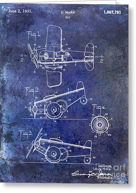 Old Airplane Greeting Cards - 1931 Toy Airplane Patent Greeting Card by Jon Neidert