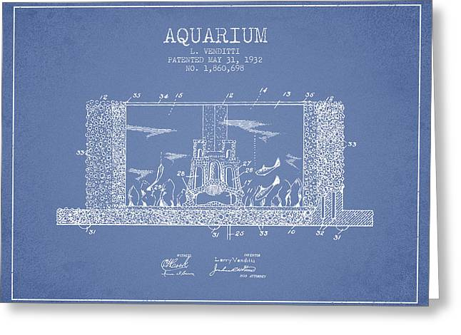 Aquarium Fish Greeting Cards - 1932 Aquarium Patent - Vintage Greeting Card by Aged Pixel