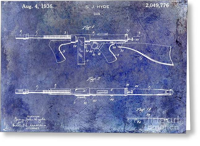 Machine Photographs Greeting Cards - 1936 Gun Patent Blue Greeting Card by Jon Neidert