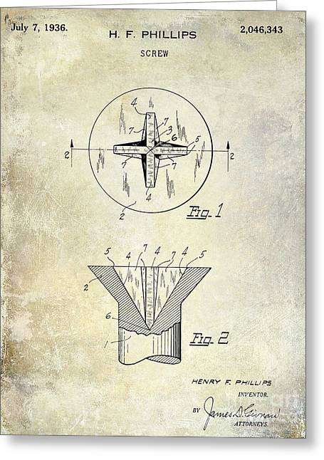 Screwing Greeting Cards - 1936 Screw Patent Greeting Card by Jon Neidert