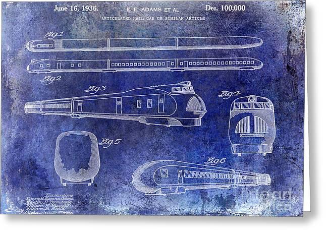 Train Car Greeting Cards - 1936 Train Patent Blue Greeting Card by Jon Neidert