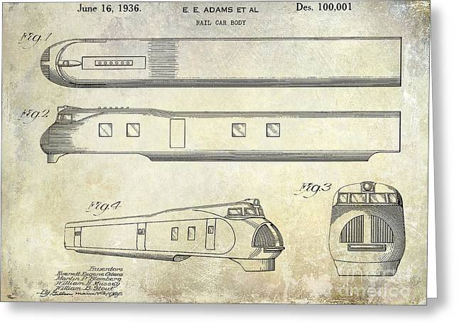 Train Car Greeting Cards - 1936 Train Patent  Greeting Card by Jon Neidert