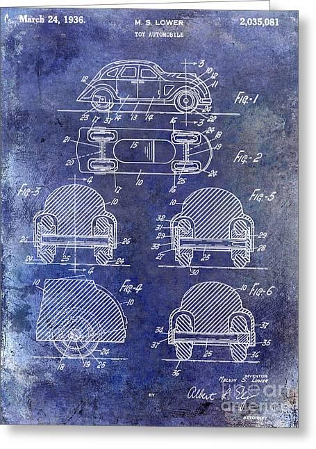 Vw Beetle Greeting Cards - 1936 VW Toy Car Patent Greeting Card by Jon Neidert