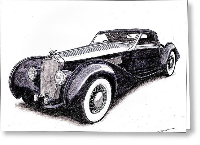 Veteran Drawings Greeting Cards - 1938 Delage D8 120 Greeting Card by Dan Poll