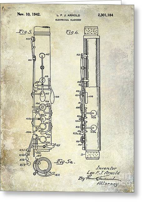 Philharmonic Greeting Cards - 1942 Electric Clarinet Patent  Greeting Card by Jon Neidert