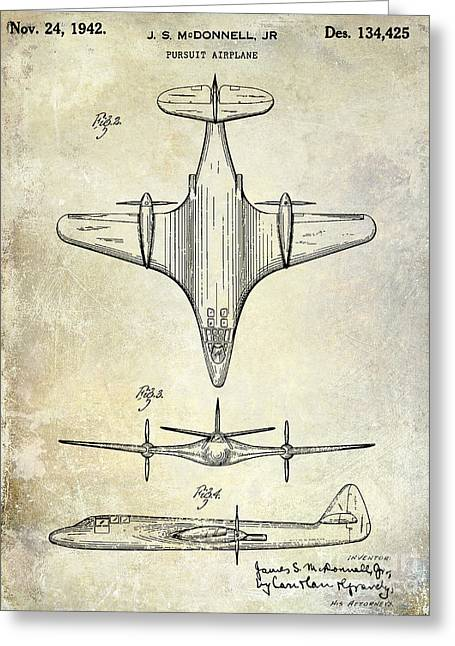 Propeller Greeting Cards - 1942 Pursuit Airplane Patent Greeting Card by Jon Neidert